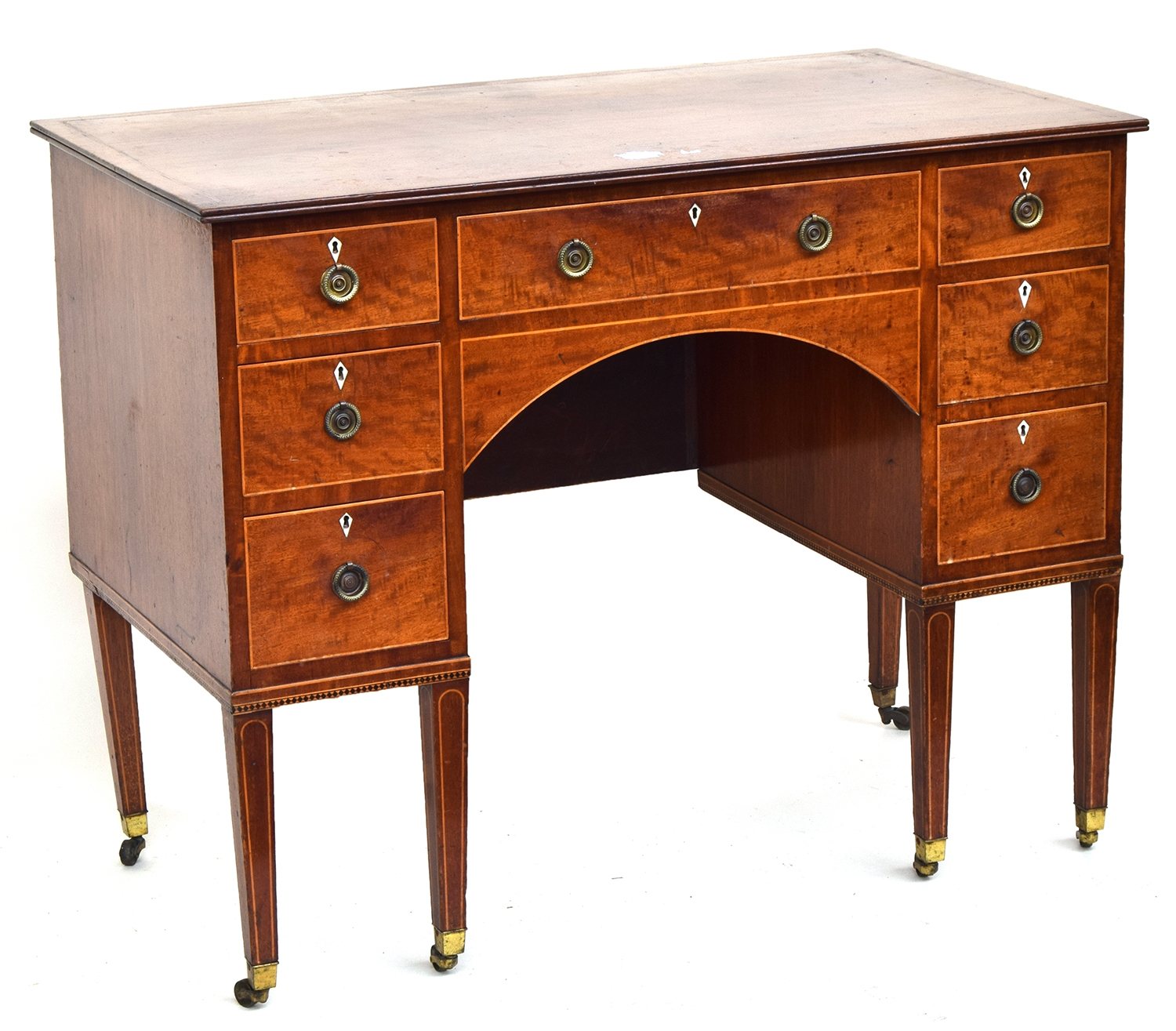 A Regency mahogany kneehole dressing table, with an arrangement of seven drawers, with light wood - Image 2 of 2