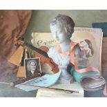 Gerald Norden (1912-2000), 'Still Life with a Child's Violin', oil on board, signed and dated