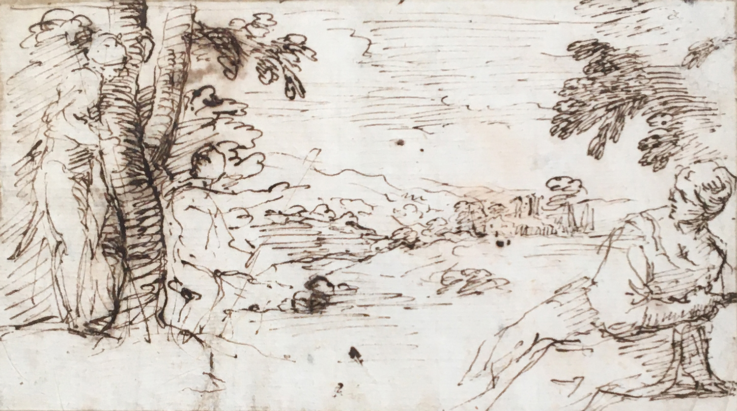Simone Cantarini, called il Pesarese (Italian, 1612-1648), 'Landscape with figures', pen and brown