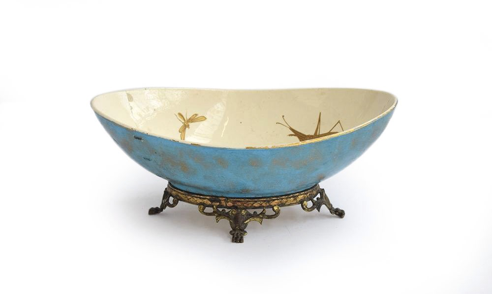 A Hautin Boulenger & Cie Choisy-le-Roi bowl, the white interior decorated with hand painted gold