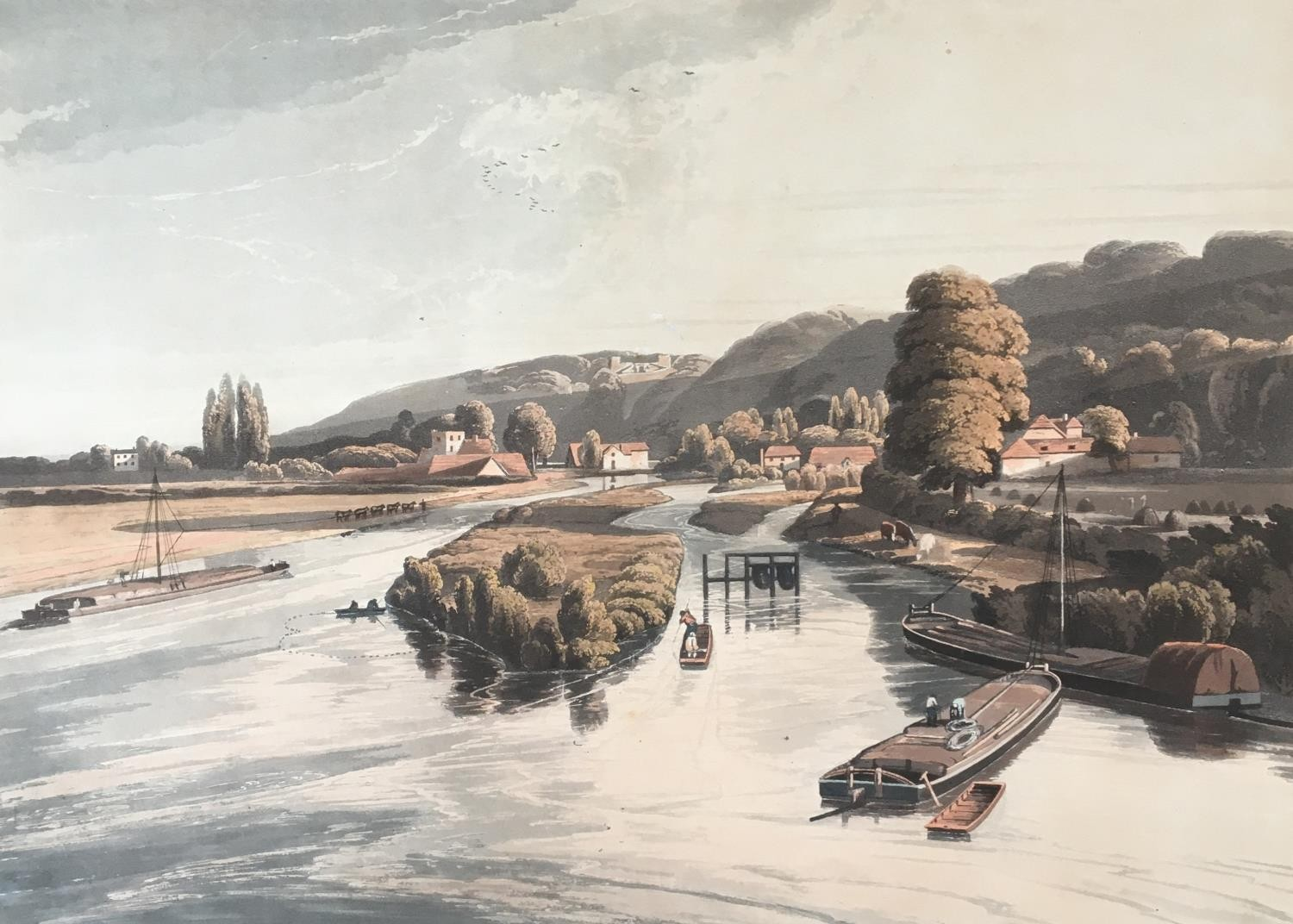 A collection of ten 19th century chromolithographs after William Havell, 'An Island On The Thames