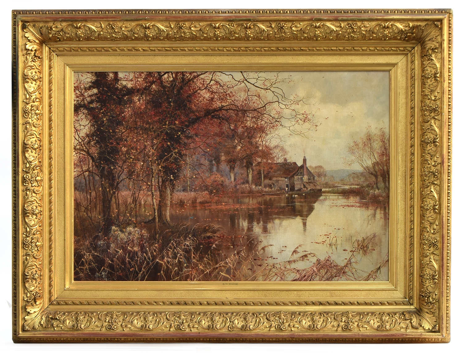 Edward Wilkins Waite RBA (British, 1854-1924), The fall of the leaf, oil on canvas, 49.5 x 73.5cm - Image 2 of 2