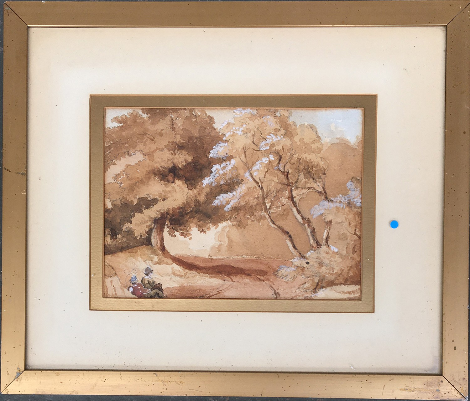 Circle of David Cox Snr. OWS (1783-1859), figures seated in woodland, watercolour heightened in - Image 2 of 2