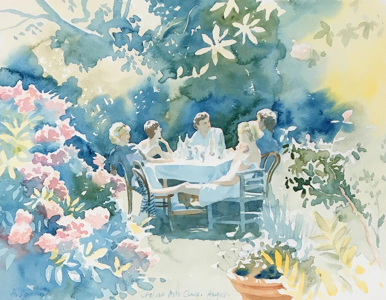 Hazel Soan (British, 20th Century), Chelsea Arts Club, August, signed lr.lt, watercolour, 30 x 39cm