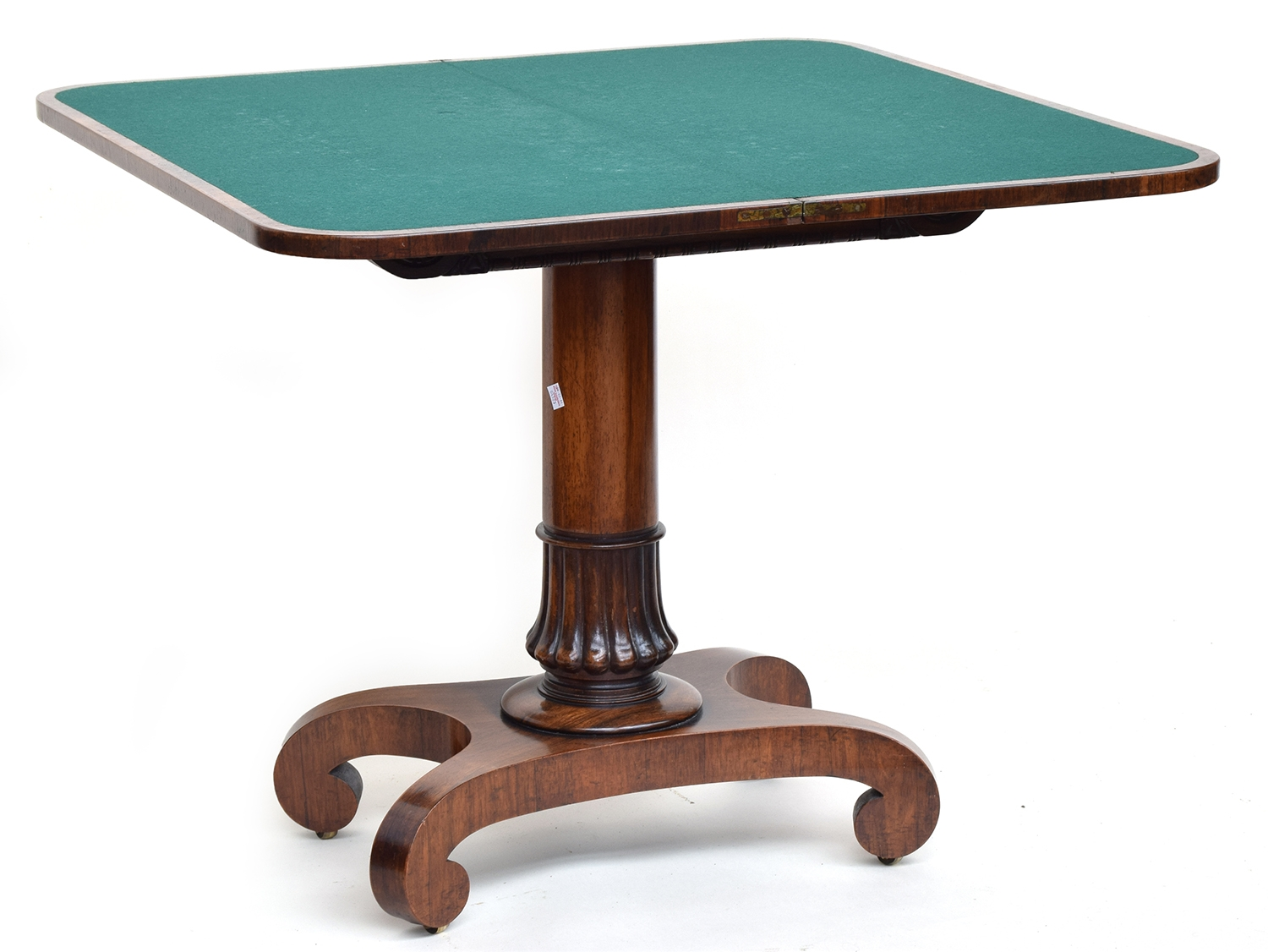 A Victorian swivel top card table, on column base and four scrolling feet, 92cm wide, 46cm deep, - Image 2 of 2