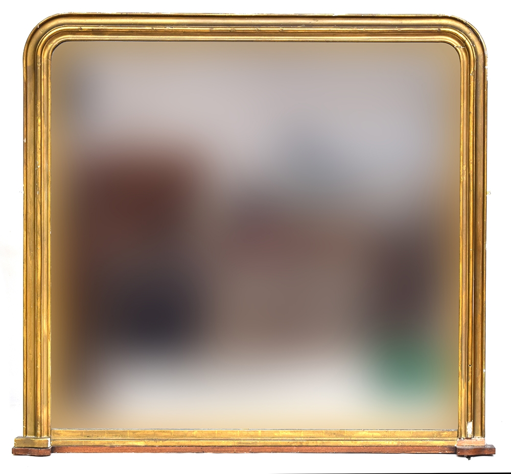 A large 19th century gilt framed overmantel mirror, 160x166