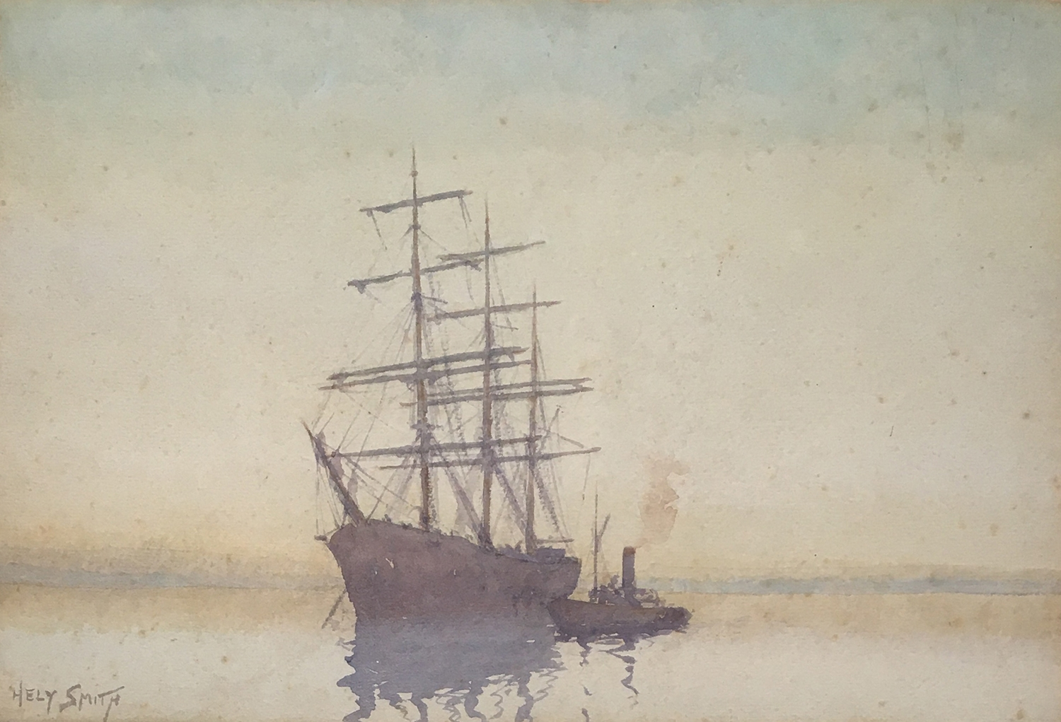 Hely Augustus Morton Smith RBA, RBC (1862-1941) A whaler and tug, signed watercolour and pencil 22.5
