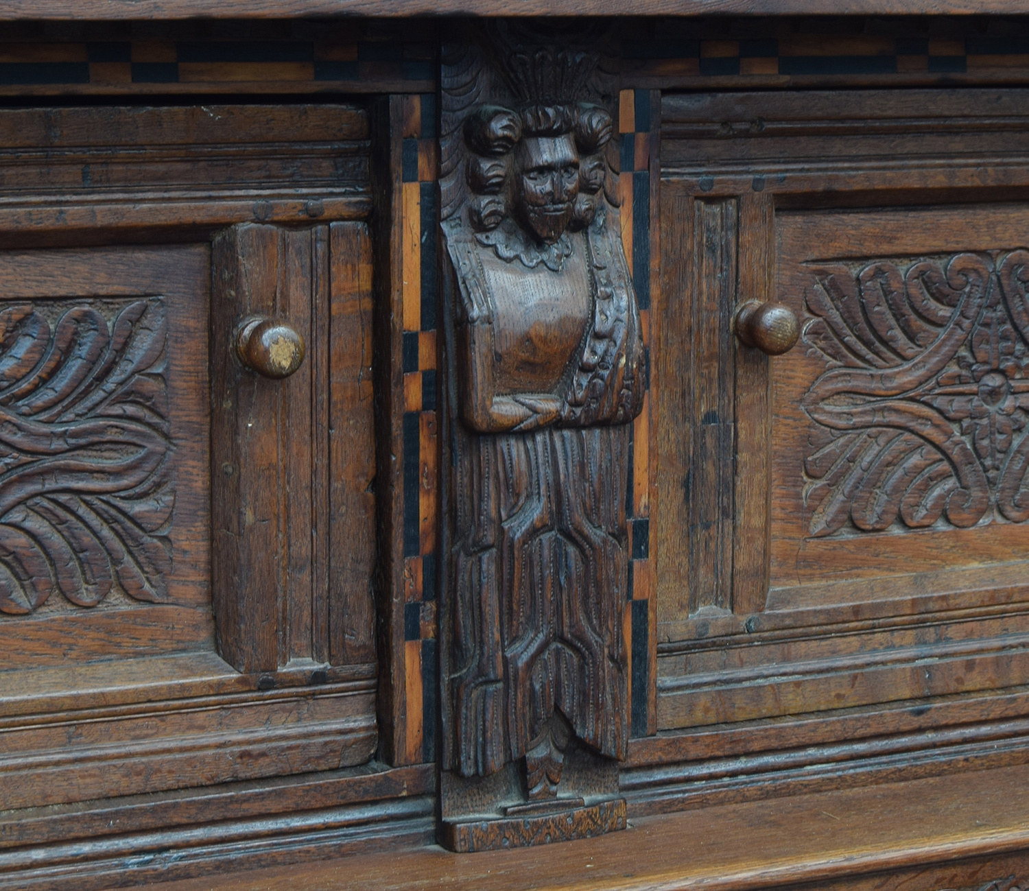 A 17th century joined oak court cupboard, boarded top, the upper section with turned pendants and - Image 3 of 3