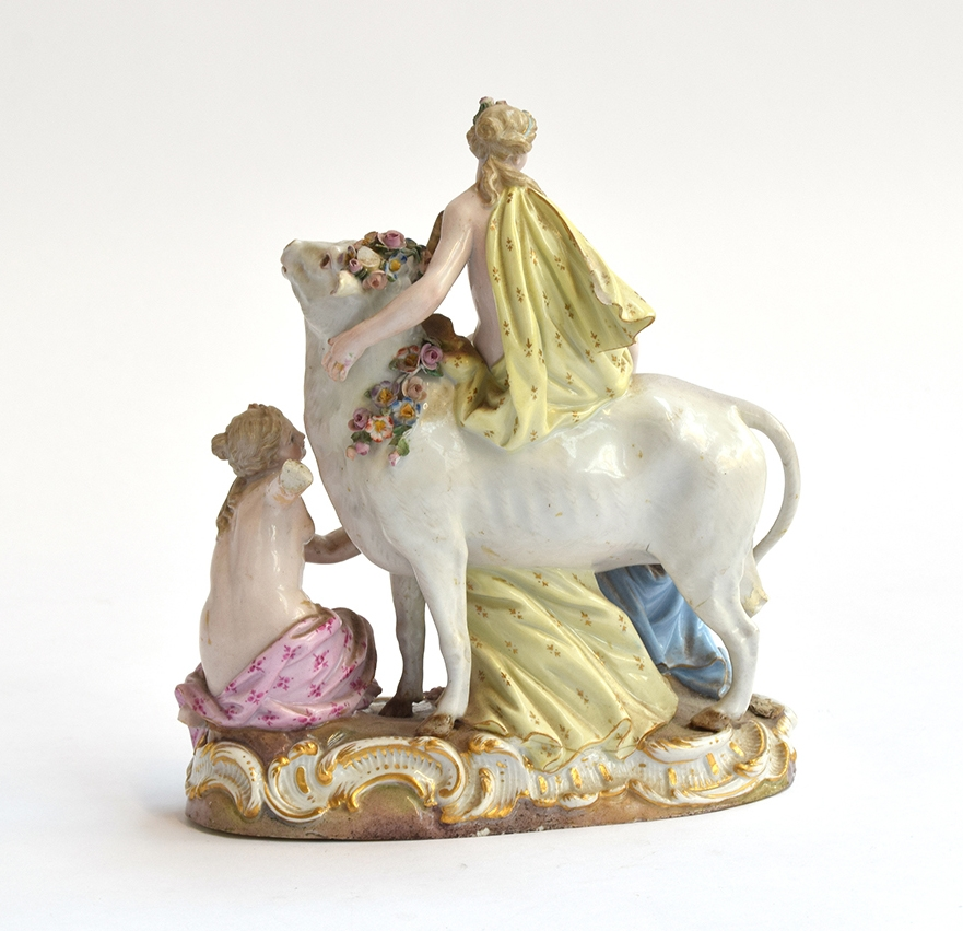 A late 19th century Meissen porcelain figure group of Europa and the bull, depicting Europa atop the - Image 2 of 3
