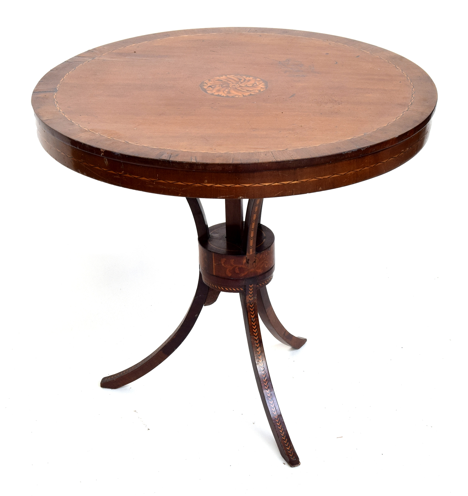 A Regency mahogany and marquetry centre table, on swept tripod base, intricate foliate central - Image 2 of 2