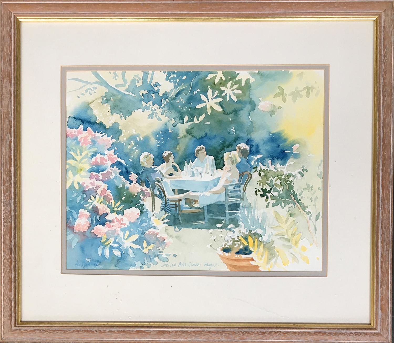 Hazel Soan (British, 20th Century), Chelsea Arts Club, August, signed lr.lt, watercolour, 30 x 39cm - Image 2 of 2