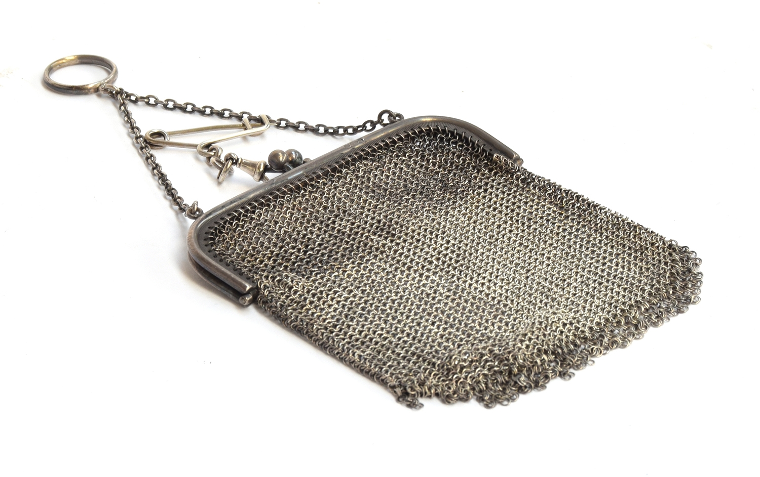 A ladies mesh purse with silver import marked handle, gross weight approx 117g