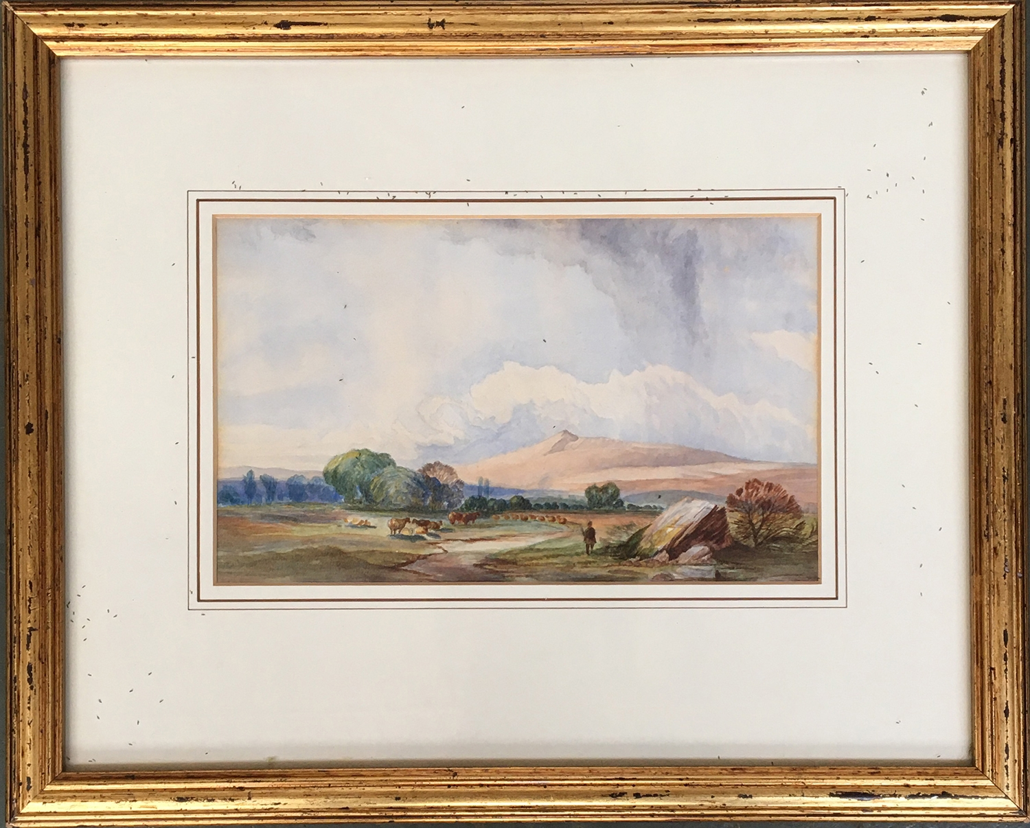 19th century English school, cattle in a landscape, watercolour on paper, 14 x 23.5cm - Image 2 of 2