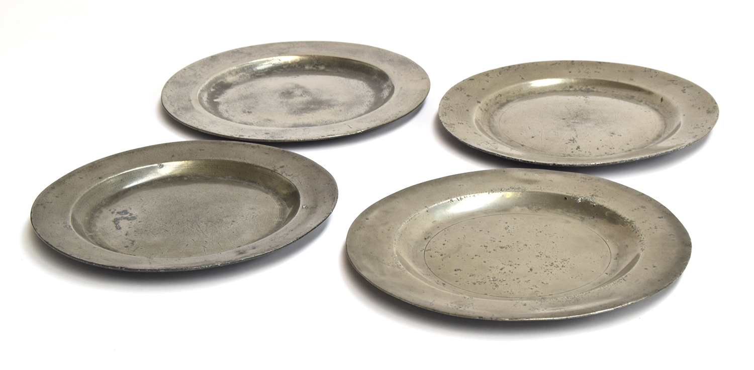A 19th century pewter plate, bears mark for Henry Sewdley, 23.4cm diameter; together with another