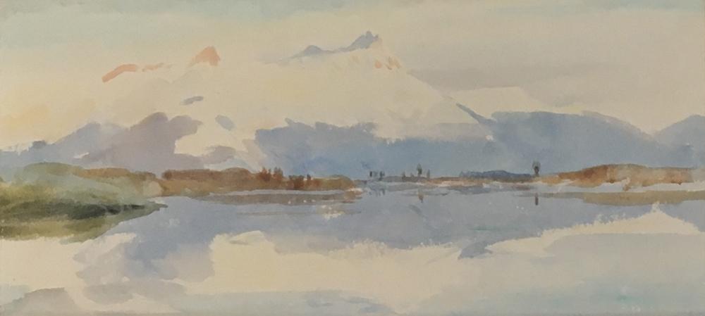 William Lionel Wyllie (5 July 1851 - 6 April 1931), mountain landscape, watercolour, 8.5 x 19cm