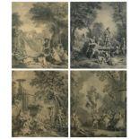 After Nicolas Lancret, L'Eau, Le Feu, La Terre, L'Air, a set of four engravings by L Des Place, B