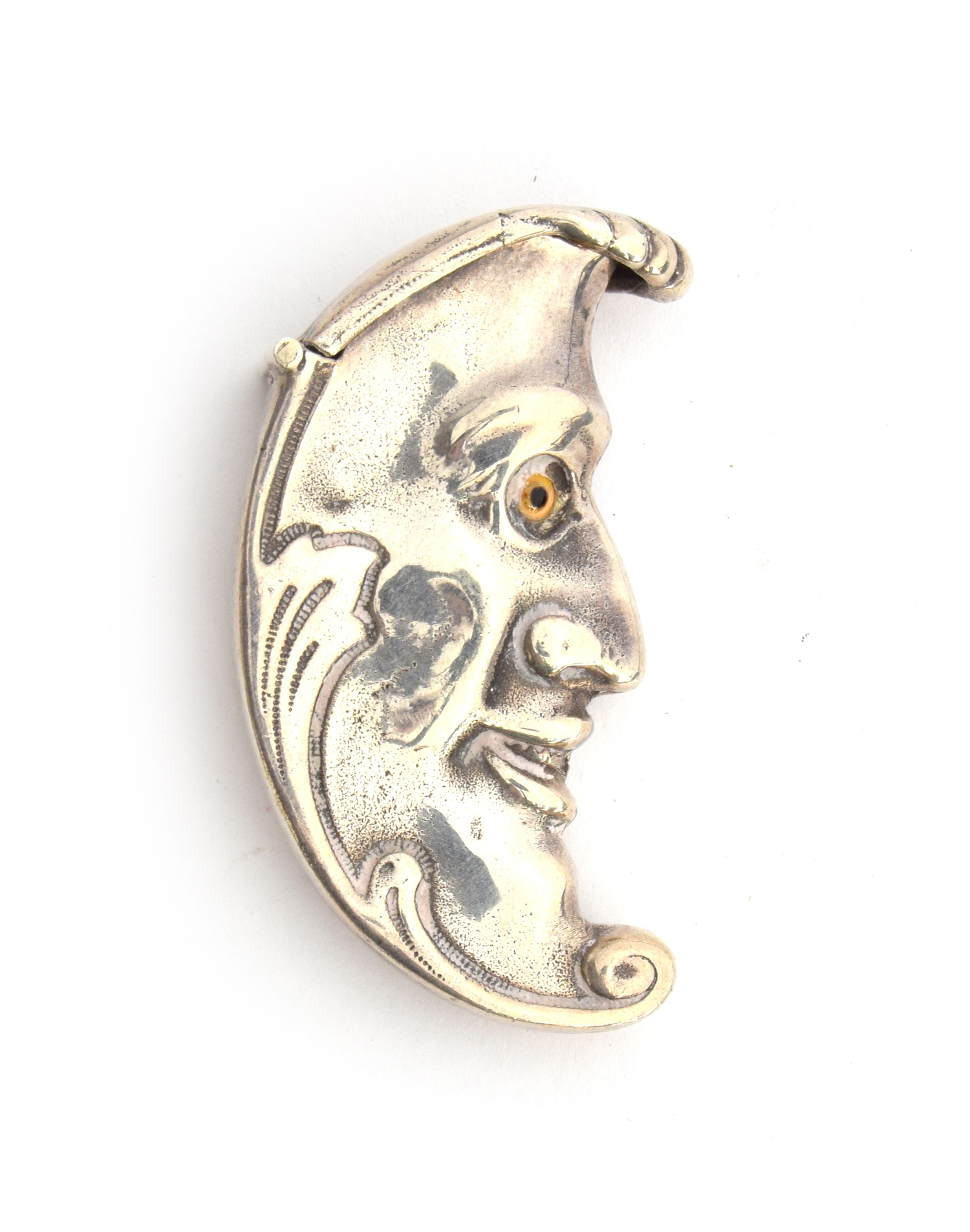 A novelty silver man in the moon crescent vesta case, by David A Bowles - Image 2 of 2