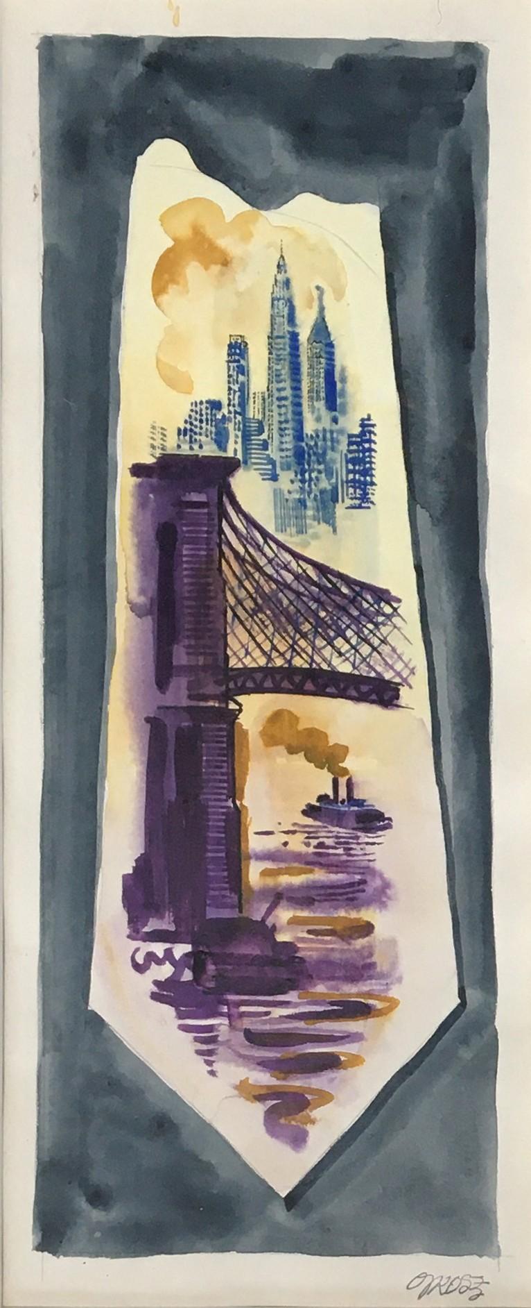 George Grosz (German, 1893-1959), New York necktie (East River), c.1944, watercolour, signed, 50 x