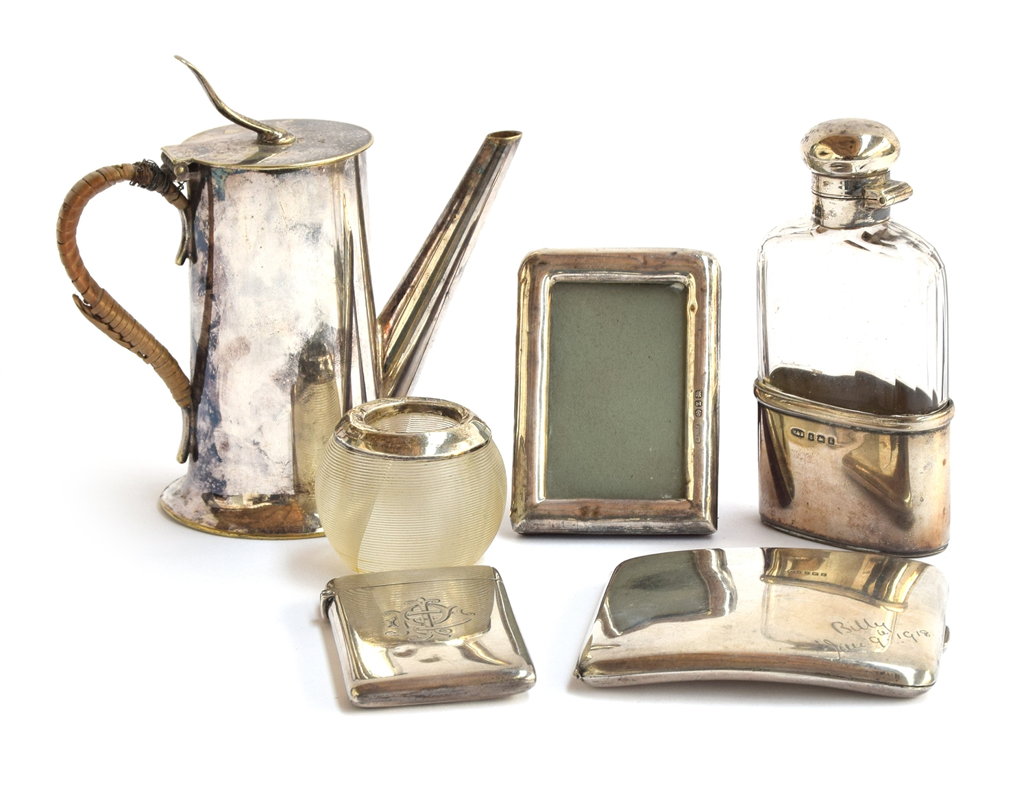 Various silver items to include: a silver card case, by Colen Hewer Cheshire, Birmingham 1891; a