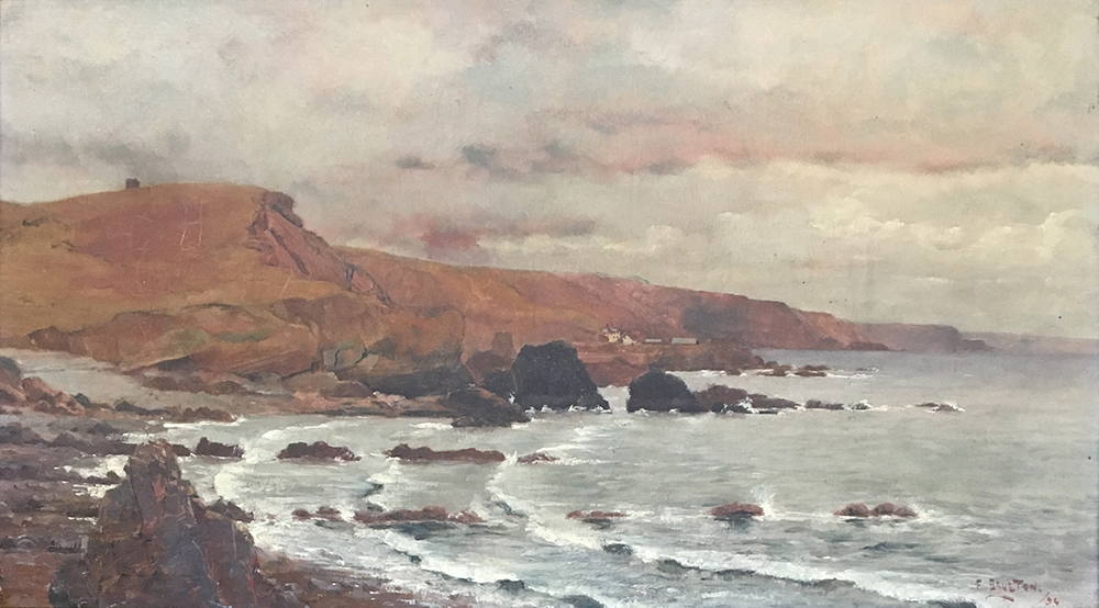 Frederick Brueton (1859-1916), a pair of coastal landscapes, probably Devon, oil on board, each - Image 4 of 5