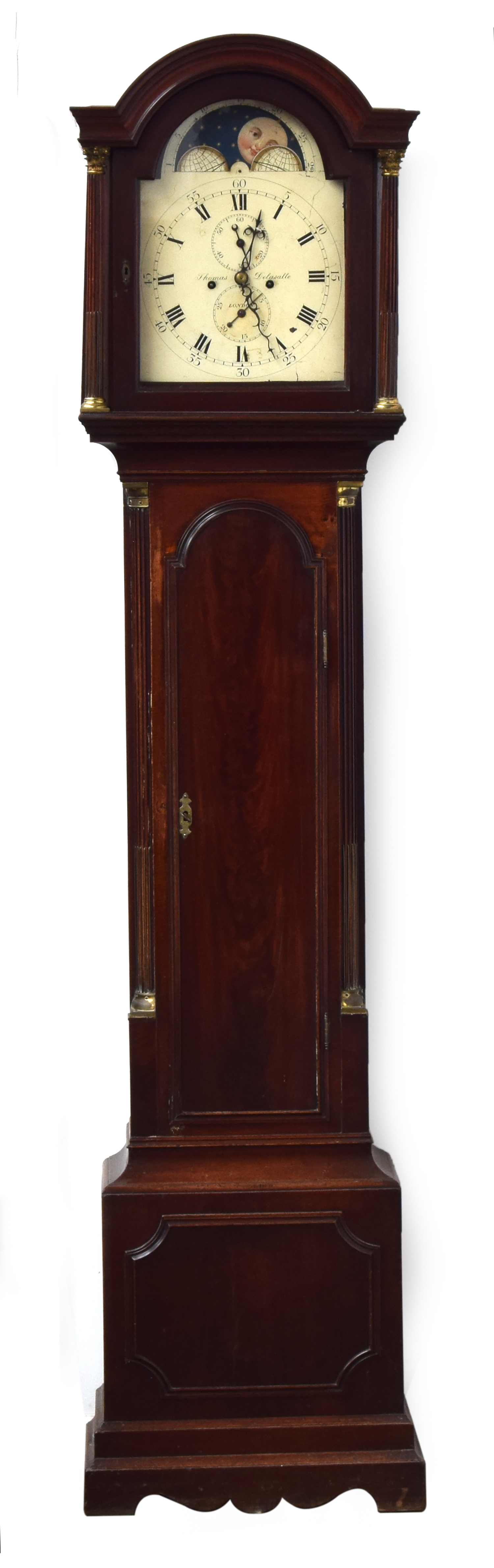 A mahogany longcase clock, the domed dial with moonphase, two subsidiary dials, Arabic minutes and