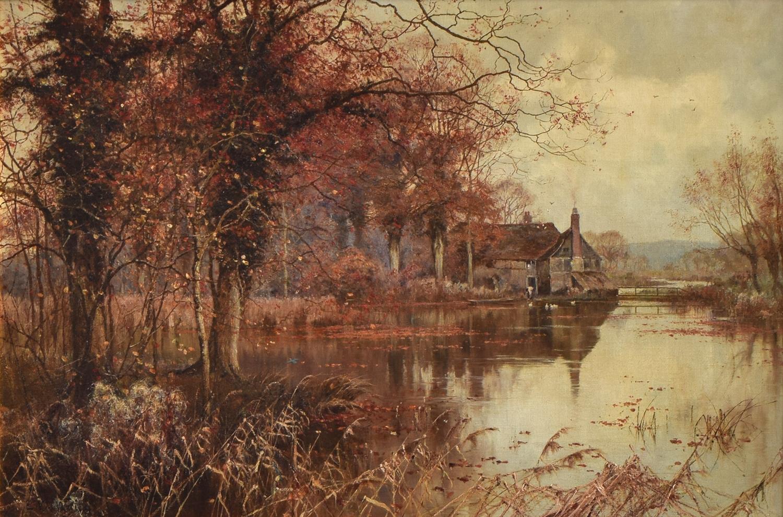 Edward Wilkins Waite RBA (British, 1854-1924), The fall of the leaf, oil on canvas, 49.5 x 73.5cm