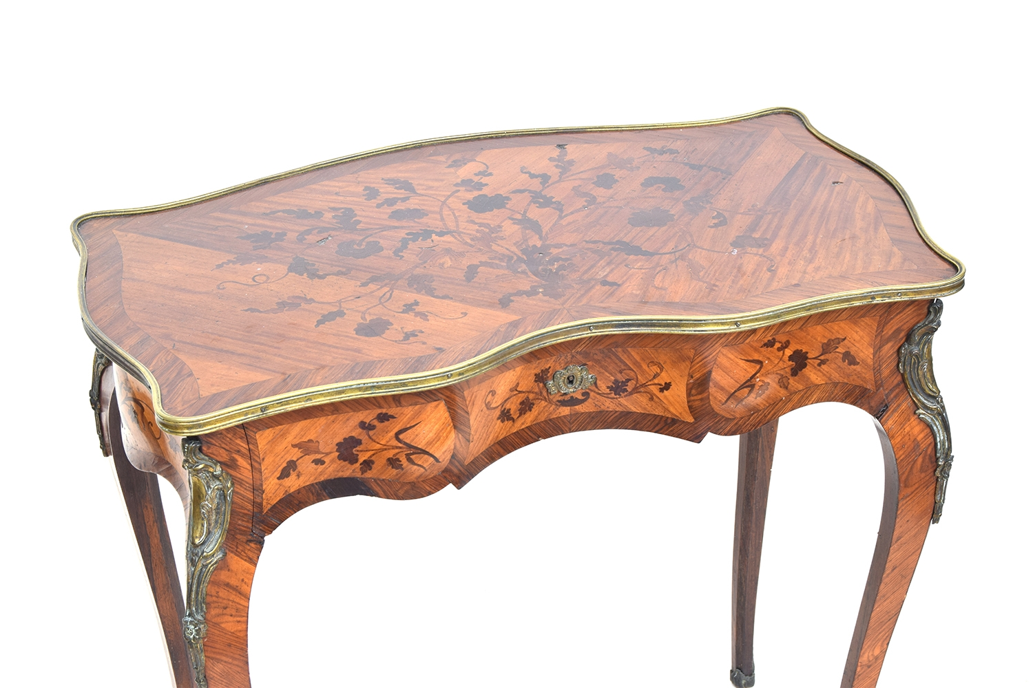 A Continental Louis XV style ormolu mounted marquetry side table, serpentine top with single drawer, - Image 3 of 3