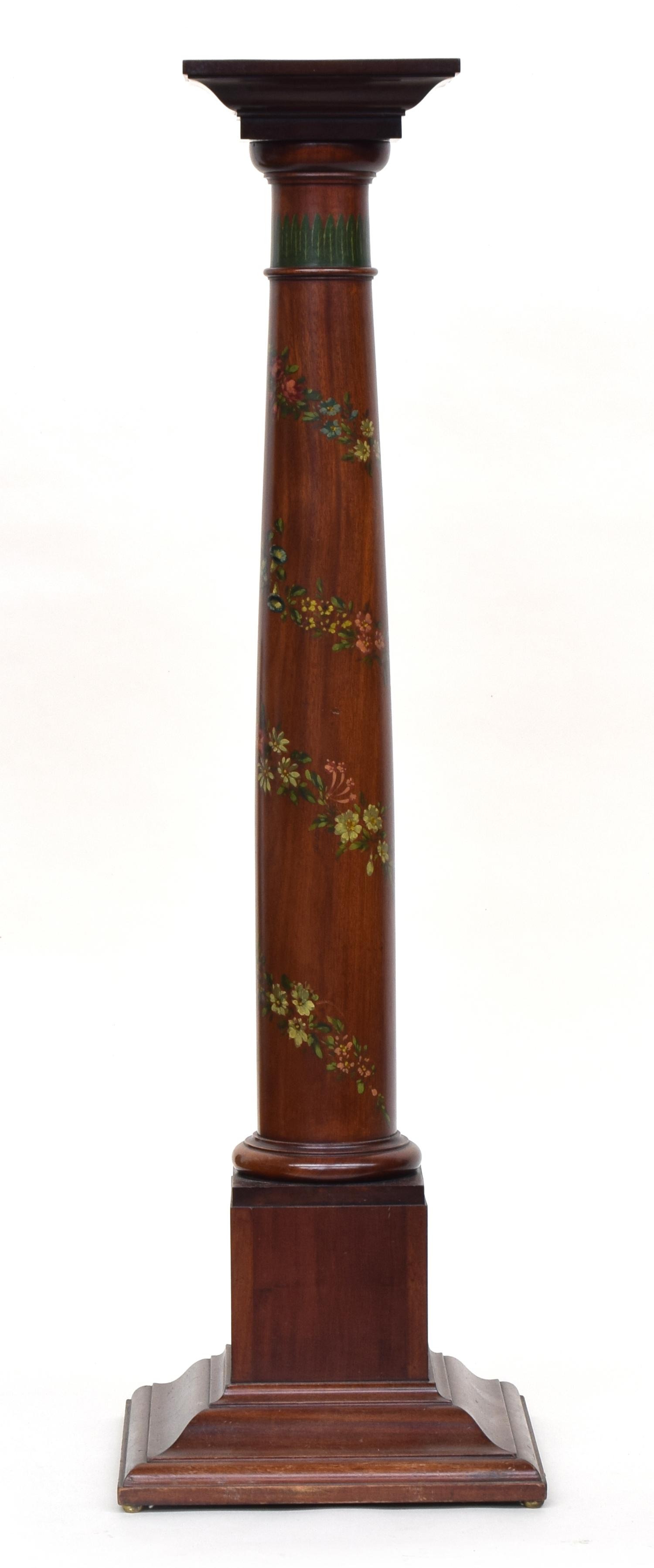 A 19th century mahogany pot stand, painted with spiralling floral decoration, on square pedestal