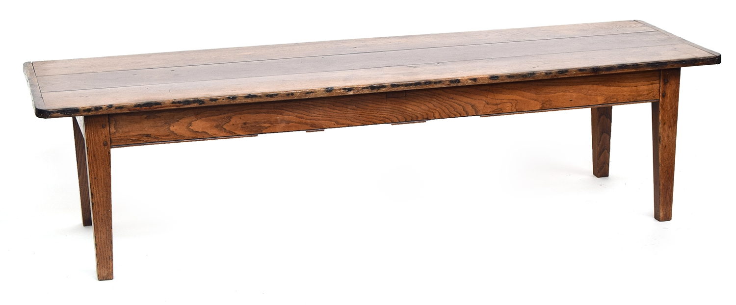 A 19th century low oak table, three plank top with cleated ends, on square tapered legs, 200cm wide, - Image 2 of 2