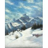 Josef Straka (1864-1946), A snowy mountainous landscape with smoke coming from the chimney of a