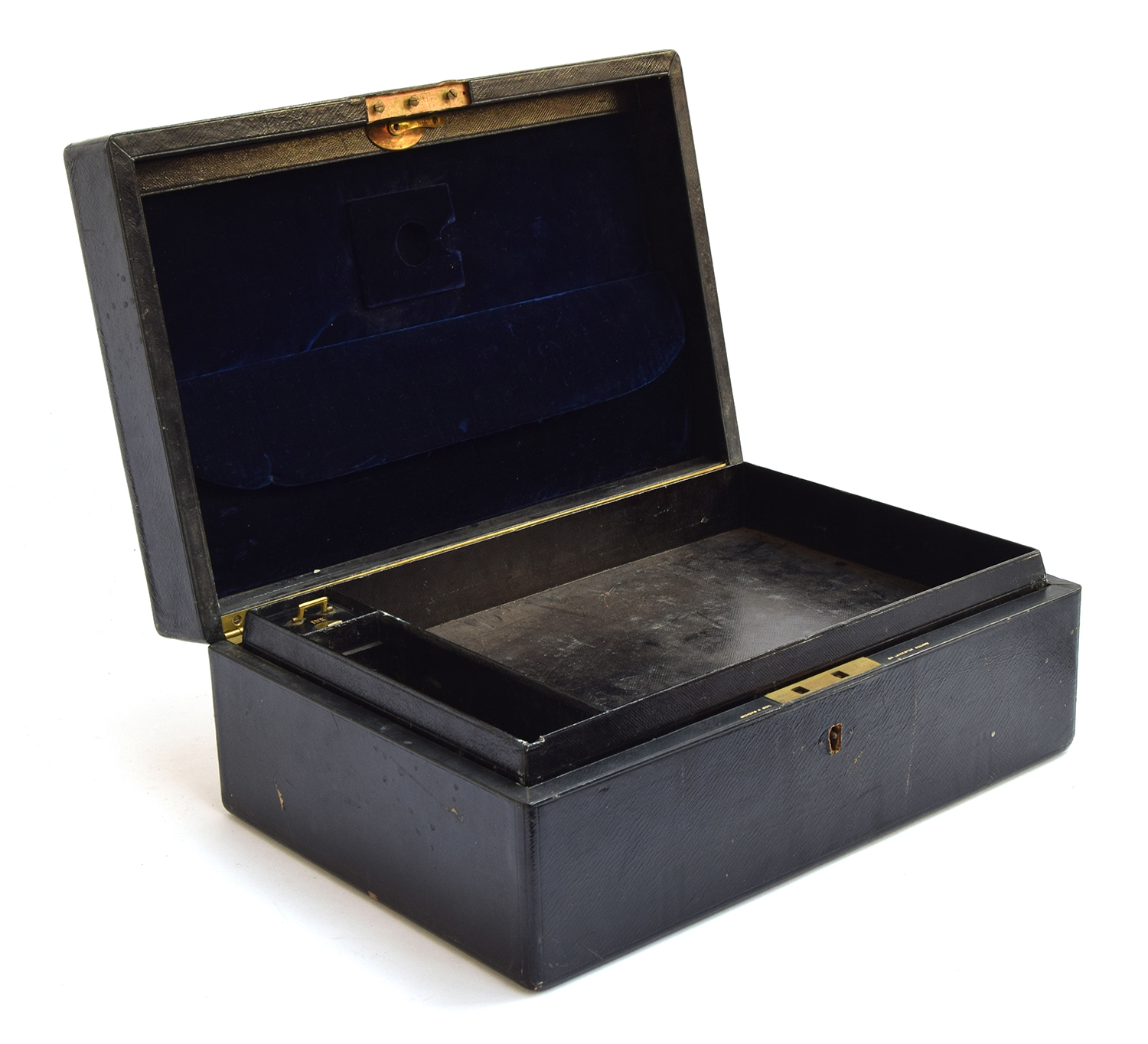 A black leather writing box by Bickers & Son, 54 Leicester Square, the brass plaque inscribed 'W. - Image 2 of 3