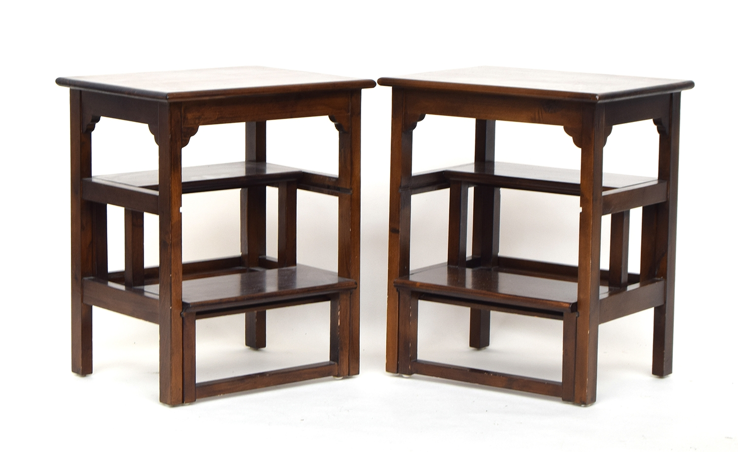 A pair of contemporary metamorphic library steps/occasional tables, the lower two steps with sliding - Image 2 of 2