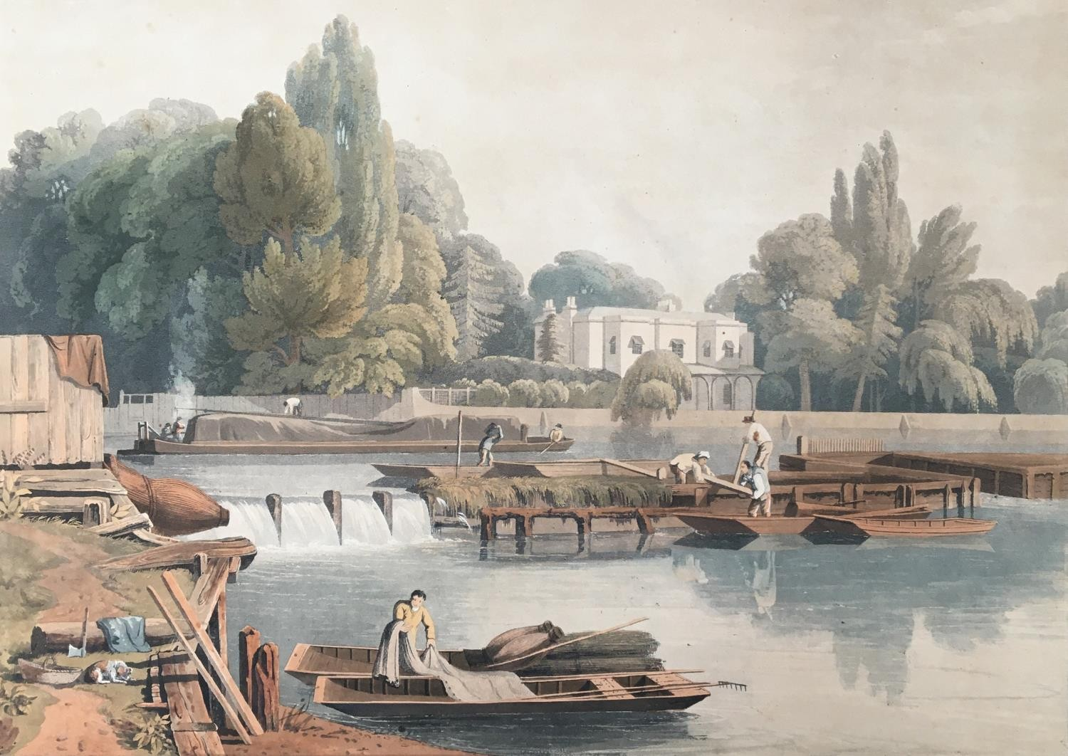 A collection of ten 19th century chromolithographs after William Havell, 'An Island On The Thames - Image 6 of 10