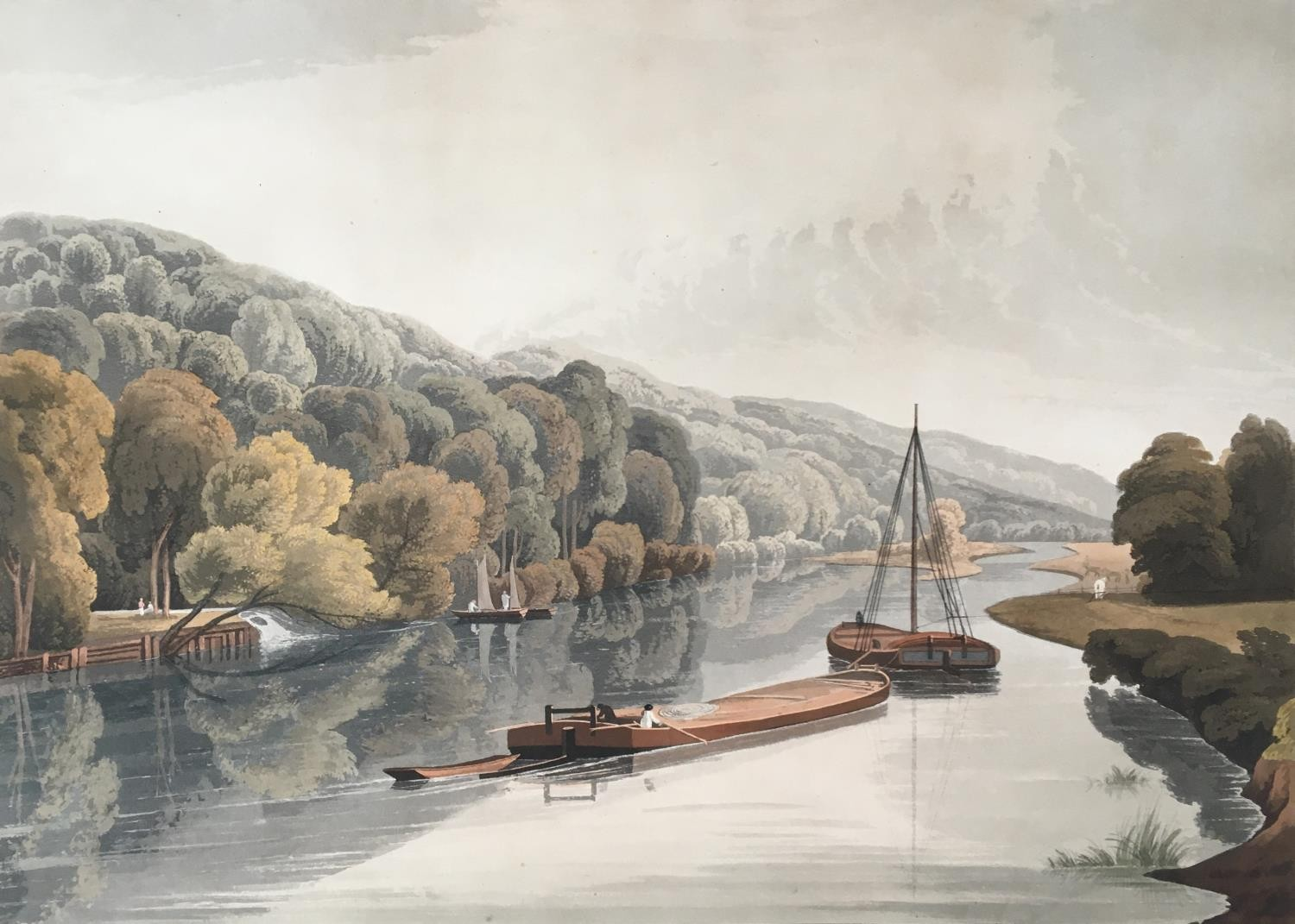 A collection of ten 19th century chromolithographs after William Havell, 'An Island On The Thames - Image 10 of 10