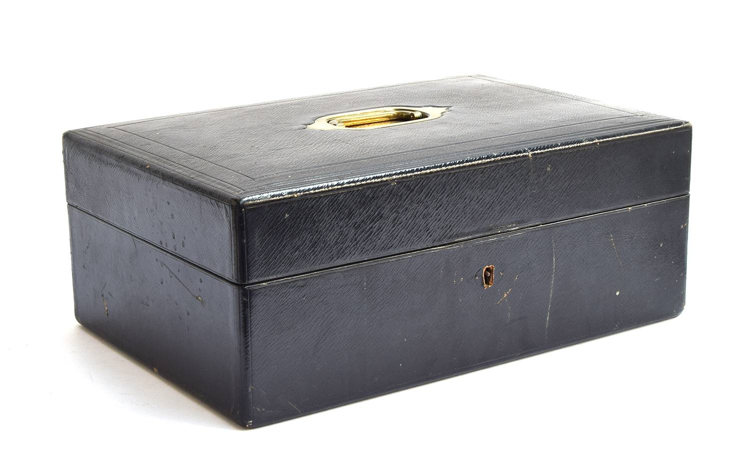 A black leather writing box by Bickers & Son, 54 Leicester Square, the brass plaque inscribed 'W.