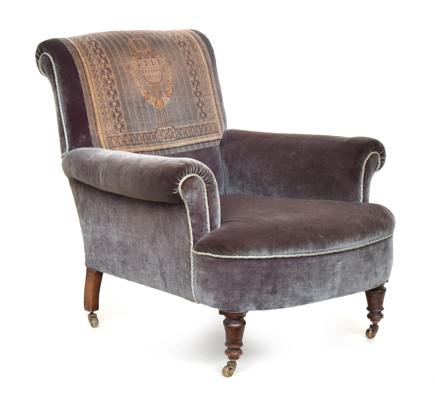 A 19th century armchair, woven carpet panel, with outswept arms on turned casters - Image 2 of 2