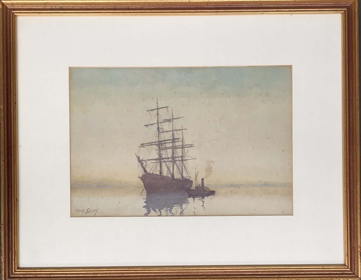 Hely Augustus Morton Smith RBA, RBC (1862-1941) A whaler and tug, signed watercolour and pencil 22.5 - Image 2 of 2