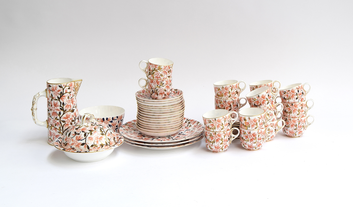 A Royal Crown Derby part tea service, floral Imari pattern heightened in gilt, marked '374' to base, - Image 2 of 2