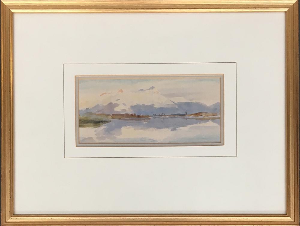 William Lionel Wyllie (5 July 1851 - 6 April 1931), mountain landscape, watercolour, 8.5 x 19cm - Image 2 of 2