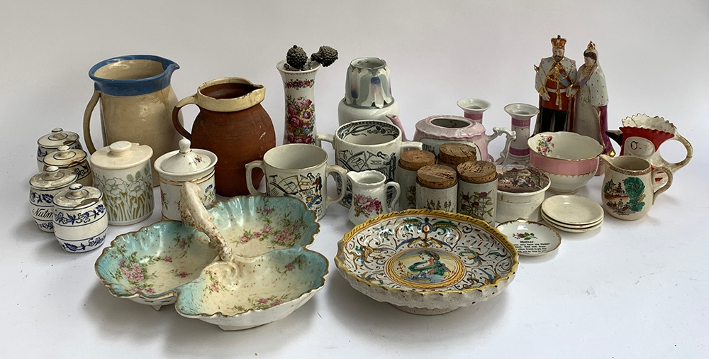 A mixed lot of ceramics to include several studio pottery jugs, God Speed the Plow mugs (one af),