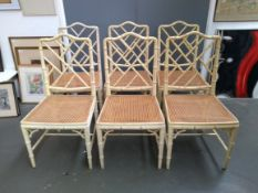 A good set of six Chinese Chippendale style white painted faux bamboo occasional chairs, with lattic