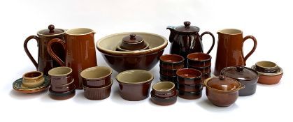 A quantity of brown Denby and other stoneware, approx. 30 pieces, to include mixing bowl, jugs,