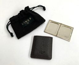 A Links of London 925 silver folding photo frame in leather embossed slip case, hallmarked London