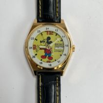 A Seiko automatic Mickey Mouse wrist watch with day date aperture, approx. 37mm diameter