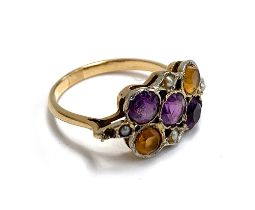 A gold ring set with citrine, amethyst, and seed pearl, size M, 3.1g