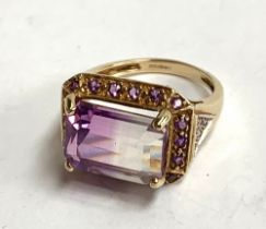 A 9ct gold dress ring set with purple stones, gross weight 5g