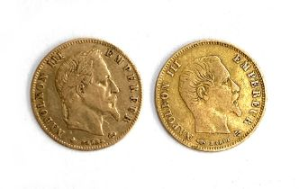 Two Napoleon III gold 5 Francs coins, 1856 and 1866, 3.1g