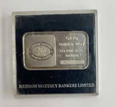 A one ounce troy 999 fine silver bullion, by Johnson Matthey Bankers Limited