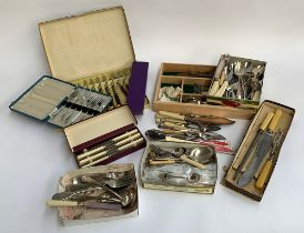 A mixed lot of cutlery, divided cutlery tray and plated wares etc