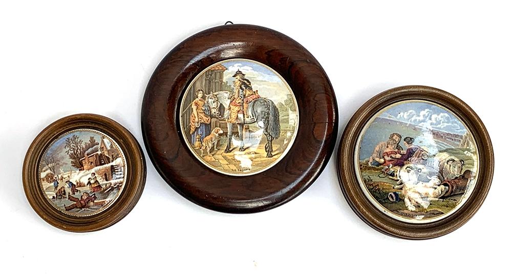 Three prattware pot lids